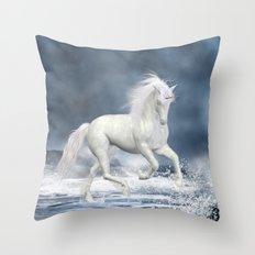 White Unicorn Throw Pillow