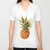 pineapples V-neck T-shirts featuring Pineapples Pattern by JunkyDotCom