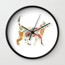 Cat woodland Wall Clock