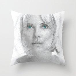 Charlize Theron  Portrait Throw Pillow
