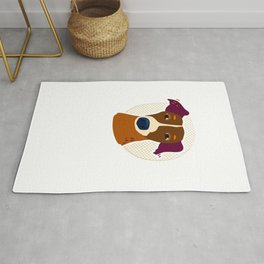 Portrait of a small dog on a background of a circle of dots Rug
