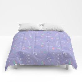 Retro geometrical lavender purple coral teal 80's pattern Comforters