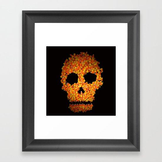 Candy Corn Skull Framed Art Print