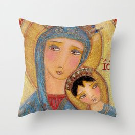 Our Lady of Perpetual Help by Flor Larios Throw Pillow