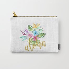 Hawaiian multicolored floral bouquet with faux gold aloha brush script Carry-All Pouch
