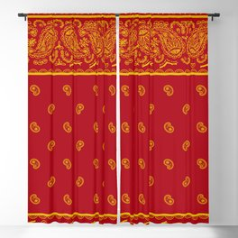 Red and Gold Bandana Blackout Curtain