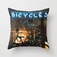 bicycles Throw Pillows featuring Bicycles   by {she tells stories}