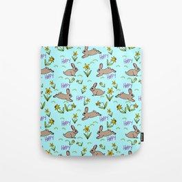 Hoppy Happy Sweet Spring Bunny Floral Design Tote Bag