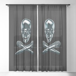 Pirate tunes / 3D render of skull and cross bones with microphones Sheer Curtain