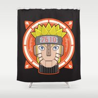 naruto Shower Curtains featuring Mecha Naruto by Enrique Valles