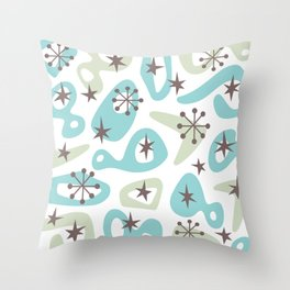 Retro Mid Century Modern Spaced Out Composition 332 Throw Pillow