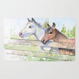 Horses Watercolor Sketch Barn Animals Horse Rug
