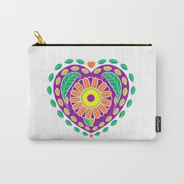 Floral Leaf Heart Carry-All Pouch
