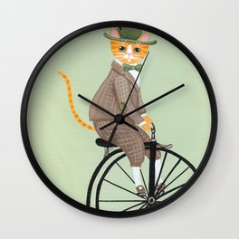 Dandy Cat on a Penny Farthing Bicycle Wall Clock