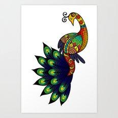 Coy peacock Art Print