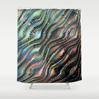 novelty Shower Curtains featuring Turbulence by Moody Muse