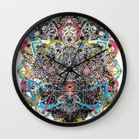 majoras mask Wall Clocks featuring Mask by Nicole Linde