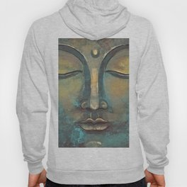 Rusty Golden Copper Buddha Face Watercolor Painting Hoody