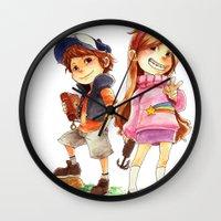 gravity falls Wall Clocks featuring Gravity Falls by Archiri Usagi
