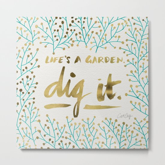 Dig It – Gold & Turquoise Metal Print