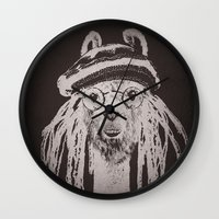 funky Wall Clocks featuring Funky Llama by Paula Belle Flores