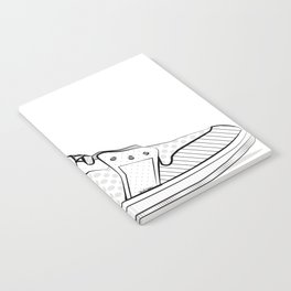 sneaker illustration pop art drawing - black and white graphic Notebook