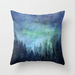 Watercolor Galaxy Nebula Northern Lights Painting Throw Pillow
