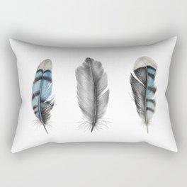 Blue Jay Feathers   Bird   Animal   Painting   Art   Animals Rectangular Pillow