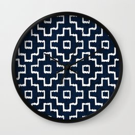 Blue Geometric Pattern Wall Clock