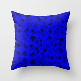 Chaotic bubbly indigo thread of spherical molecules on bright glass.  Throw Pillow