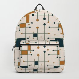 Intersecting Lines in Cream, Blue-Green and Orange Backpack