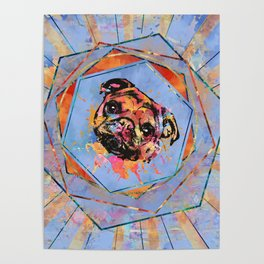 Pug dog portrait abstract mixed media Poster