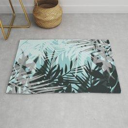 Tropical blue summer print palm leaves Rug
