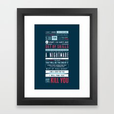 Taken Typographic Quote Poster - Liam Neeson Framed Art Print