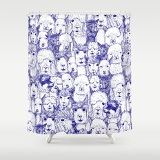 just alpacas blue white Shower Curtain