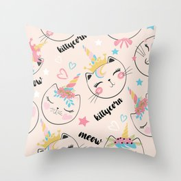 Cute cat unicorn pattern illustration for kids Throw Pillow