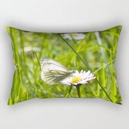 WHITE BUTTERFLY on COMMON DAISY Rectangular Pillow