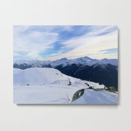 The snowy rocks at mountain tops Metal Print