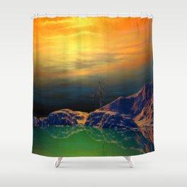 Sonnenuntergang über der Insel Shower Curtain
