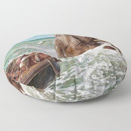 Odysseus And Polyphemus - Arnold Bocklin Floor Pillow