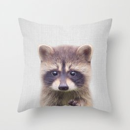 Raccoon - Colorful Throw Pillow