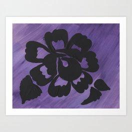Purple Striped Rose Silhouette Art Design by Christina Appling Art Print