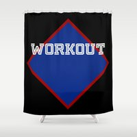 workout Shower Curtains featuring WORKOUT by Gravityx9
