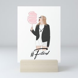 Festival girl cotton candy Mini Art Print
