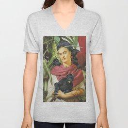 Frida Kahlo - Self portrait with monkeys recreated Unisex V-Neck