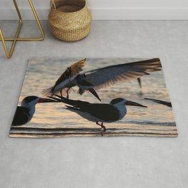 Watercolor Bird, Black Skimmer 13, Gulf Island Beach, Florida, Twilight's First Glisten Rug