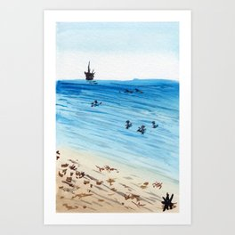 Bolsa Chica Beach, California Summertime Surf Art Print