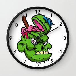 Zombie Head Illustration Wall Clock
