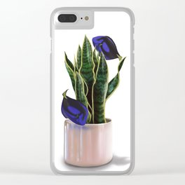 Blue Tang & Snake Plant Clear iPhone Case