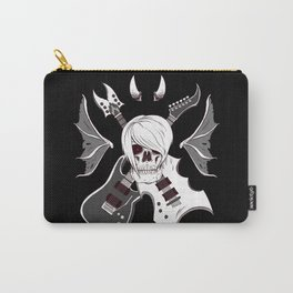 Evil Emo Skull Guitarist ( White version ) Carry-All Pouch